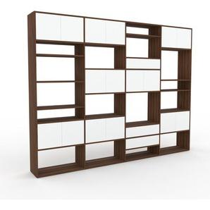 Schrankwand Nussbaum - Moderne Wohnwand: Schubladen in Weiß & Türen in Weiß - Hochwertige Materialien - 301 x 233 x 35 cm, Konfigurator