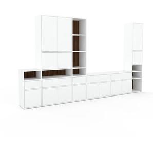 Schrankwand Weiß - Moderne Wohnwand: Schubladen in Weiß & Türen in Weiß - Hochwertige Materialien - 342 x 195 x 35 cm, Konfigurator