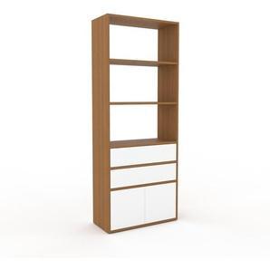 Schrankwand Eiche - Moderne Wohnwand: Schubladen in Weiß & Türen in Weiß - Hochwertige Materialien - 77 x 195 x 35 cm, Konfigurator