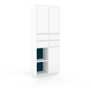 Schrankwand Weiß - Moderne Wohnwand: Schubladen in Weiß & Türen in Weiß - Hochwertige Materialien - 79 x 200 x 35 cm, Konfigurator