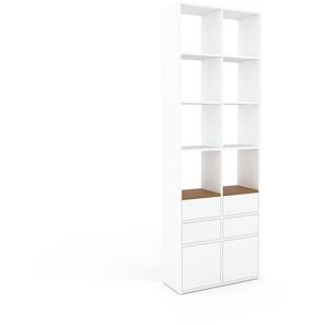 Schrankwand Weiß - Moderne Wohnwand: Schubladen in Weiß & Türen in Weiß - Hochwertige Materialien - 79 x 233 x 35 cm, Konfigurator