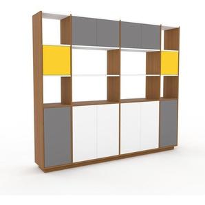 Schrankwand Eiche - Moderne Wohnwand: Türen in Grau - Hochwertige Materialien - 229 x 200 x 35 cm, Konfigurator