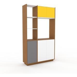Schrankwand Eiche - Moderne Wohnwand: Türen in Weiß - Hochwertige Materialien - 116 x 200 x 35 cm, Konfigurator