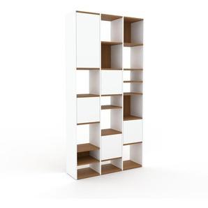Schrankwand Weiß - Moderne Wohnwand: Türen in Weiß - Hochwertige Materialien - 118 x 234 x 35 cm, Konfigurator