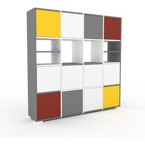 Schrankwand Weiß - Moderne Wohnwand: Türen in Weiß - Hochwertige Materialien - 156 x 158 x 35 cm, Konfigurator