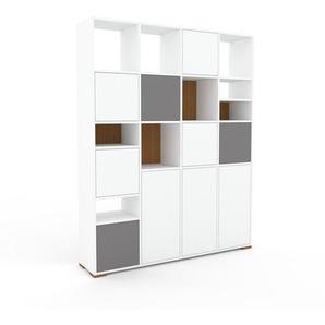 Schrankwand Weiß - Moderne Wohnwand: Türen in Weiß - Hochwertige Materialien - 156 x 196 x 35 cm, Konfigurator