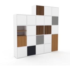 Schrankwand Weiß - Moderne Wohnwand: Türen in Weiß - Hochwertige Materialien - 195 x 195 x 35 cm, Konfigurator