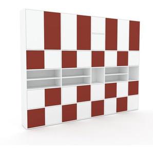 Schrankwand Weiß - Moderne Wohnwand: Türen in Weiß - Hochwertige Materialien - 303 x 234 x 35 cm, Konfigurator