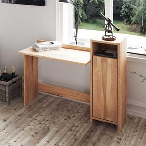 Schreibtisch aus Kernbuche Massivholz mit T�r