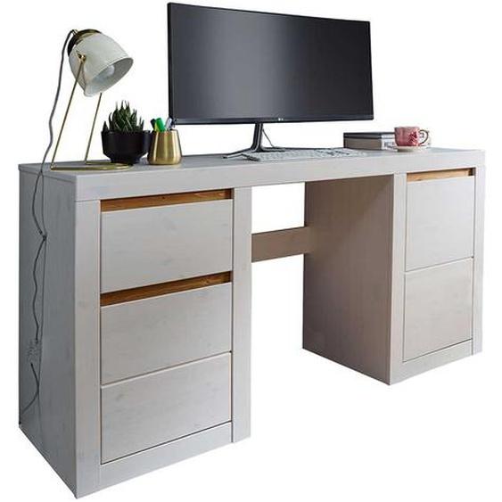 Schreibtisch aus Kiefer Massivholz Weiß