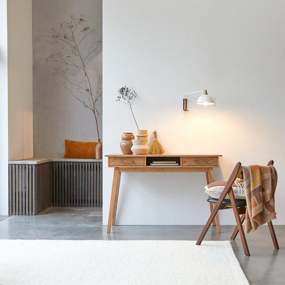 Schreibtisch Büro Akazienholz massiv helle Maserung skandinavischer Stil