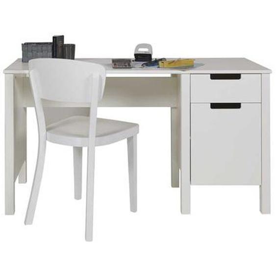 Schreibtisch in Weiß Massivholz