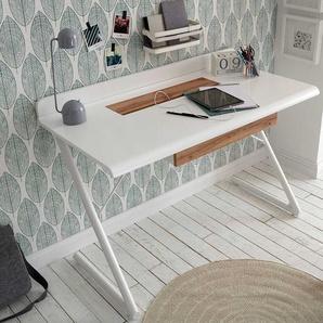 Schreibtisch in Wei� und Eiche Optik 60 cm tief