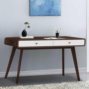 Schreibtisch in Wei� und Walnussfarben 120 cm breit
