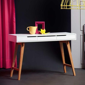 Schreibtisch Konsole in Wei� Buche 120 cm breit