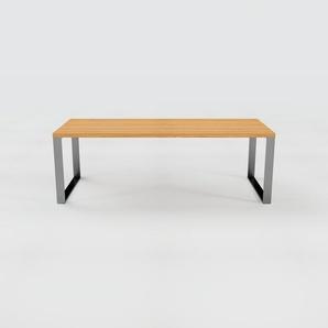 Schreibtisch Massivholz Eiche, Holz - Moderner Massivholz-Schreibtisch: Einzigartiges Design - 220 x 75 x 90 cm, konfigurierbar