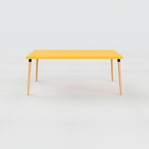 Schreibtisch Massivholz Gelb - Moderner Massivholz-Schreibtisch: Einzigartiges Design - 180 x 75 x 90 cm, konfigurierbar