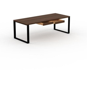 Schreibtisch Massivholz Nussbaum - Moderner Massivholz-Schreibtisch: mit 2 Schublade/n - Hochwertige Materialien - 220 x 75 x 90 cm, konfigurierbar