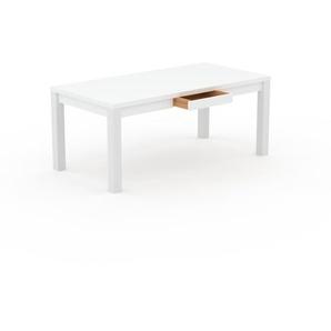 Schreibtisch Massivholz Weiß - Massivholz-Schreibtisch: mit 1 Schublade/n & Tischrahmen - Hochwertige Materialien - 180 x 76 x 90 cm, konfigurierbar