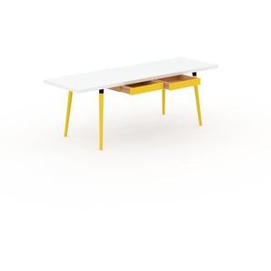 Schreibtisch Massivholz Weiß - Moderner Massivholz-Schreibtisch: mit 2 Schublade/n - Hochwertige Materialien - 220 x 75 x 70 cm, konfigurierbar