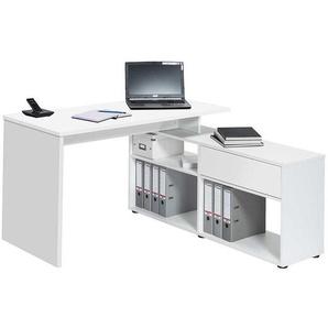Schreibtisch mit seitlichem Regal Weiß