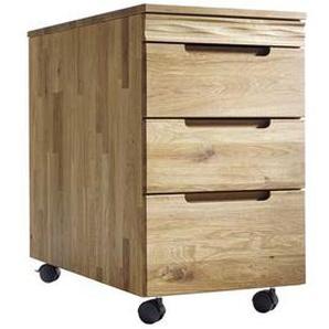 Schreibtischcontainer aus Wildeiche Massivholz mit Rollen