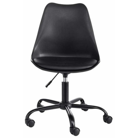 Schreibtischdrehstuhl in Schwarz Kunststoff höhenverstellbar
