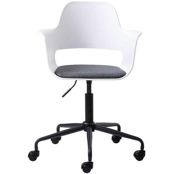 Schreibtischdrehstuhl in Weiß und Schwarz Kunststoff
