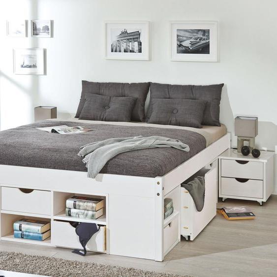 Schubkasten-Bett Göteborg, weiß mit Holzstruktur, 140x200 cm