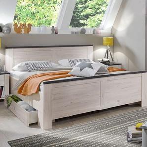 Schubkasten-Bett Grom, Eiche weiß, 180x200 cm, Schubkasten einseitig