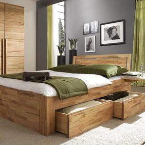Schubkasten-Doppelbett Andalucia, Buche natur, 140x200 cm, Schubkästen einseitig - 2 Schubkästen 1/2, 1/2