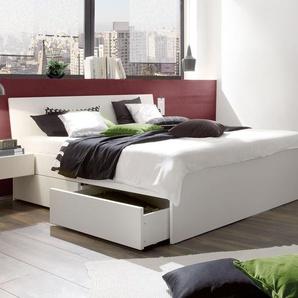 Schubkasten-Doppelbett Liverpool, Buche weiß, 160x200 cm, Schubkästen einseitig (2 Schubkästen)