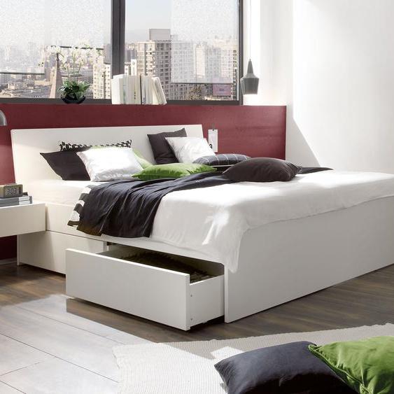 Schubkasten-Doppelbett Liverpool, Buche weiß, 180x200 cm, Schubkästen einseitig (2 Schubkästen)