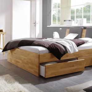 Schubkasten-Doppelbett Manchester, Kernbuche natur, 180x200 cm, Schubkästen einseitig (2 Schubkästen)