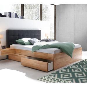 Schubkasten-Doppelbett Mirenda, Kernbuche natur, 140x200 cm, Schubkästen einseitig (2 Schubkästen)