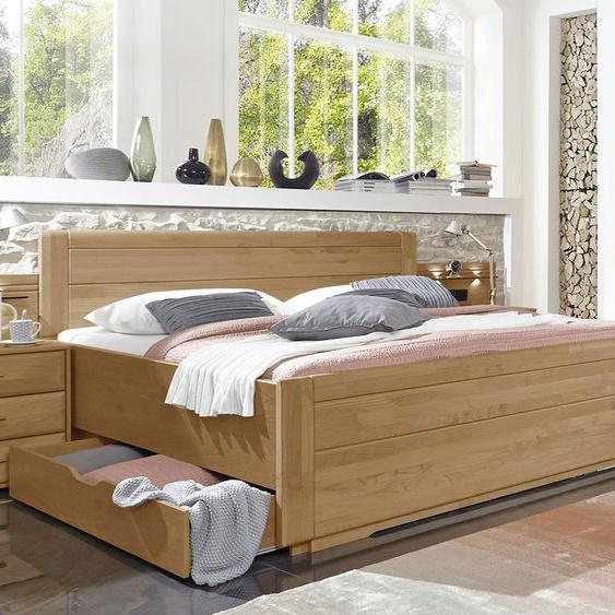 Schubkasten-Doppelbett Narita, Erle natur, 180x220 cm, mit Kunstlederkopfteil