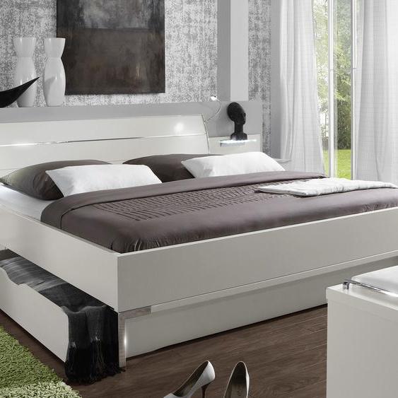 Schubkasten-Doppelbett Salford, weiß, 200x200 cm