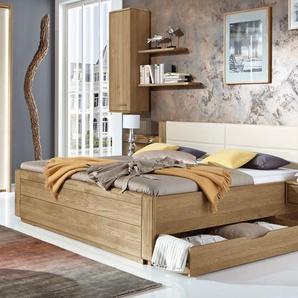 Schubkasten-Doppelbett Toride, Eiche natur, 180x200 cm, mit Holzkopfteil