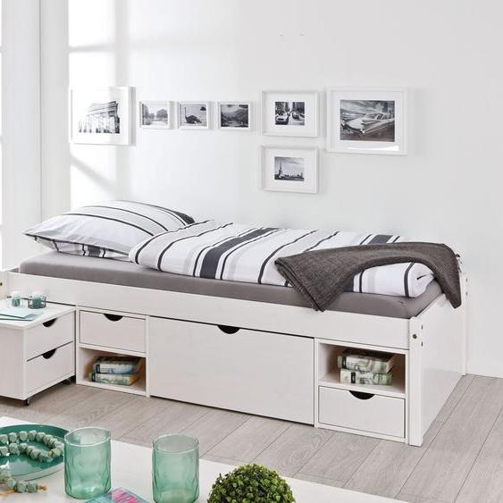 Schubkasten-Einzelbett Göteborg, weiß mit Holzstruktur, 90x200 cm