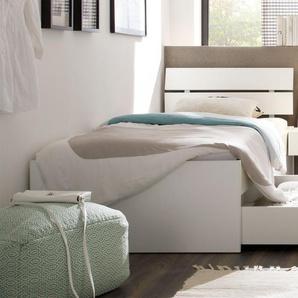 Schubkasten-Einzelbett Mocuba, Buche weiß, 90x200 cm, Schubkästen einseitig (2 Schubkästen)