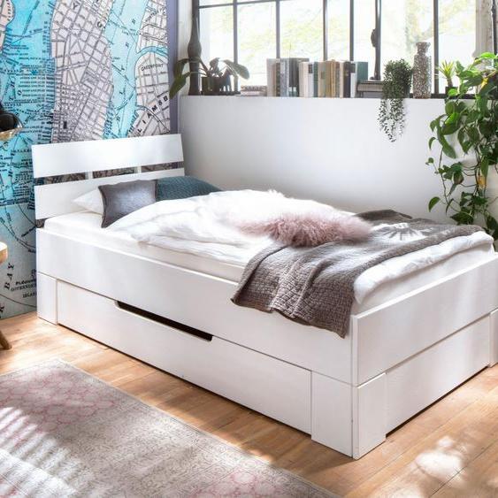 Schubkasten-Einzelbett Ottena, weiß, 90x200 cm