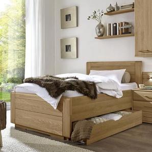 Schubkastenbett mit Kunstlederkopfteil 100x210 cm Eiche - Raida