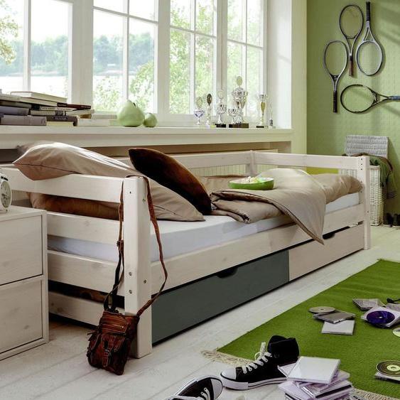 Schubkasten-Kinderbett Kids Paradise Laubhütte, weiß mit Holzstruktur, 90x200 cm