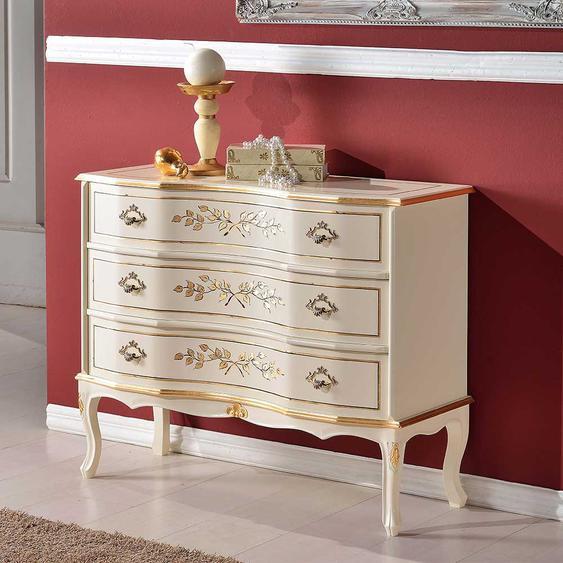 Schubkasten Kommode im Barockstil Weiß und Goldfarben verziert