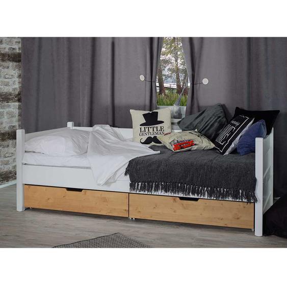 Schubkastenbetten in Weiß und Eichefarben Skandi Design