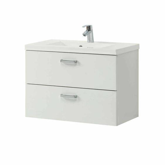 Schubladen Waschtisch in Weiß 80 cm breit
