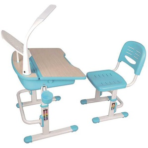 Schülerschreibtisch mit Stuhl in Blau Weiß höhenverstellbar (2-teilig)