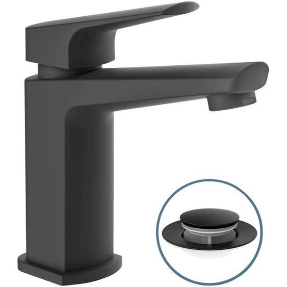 Schütte Waschtischarmatur RAVEN, mit Ablaufgarnitur und Abflussstopfen, Einhebelmischer B/H/T: 5 cm x 16,3 15,7 schwarz Waschtischarmaturen Badarmaturen Bad Sanitär