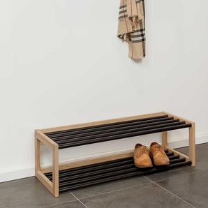 Schuhablage im Skandi Design Eiche Bianco massiv und Metall