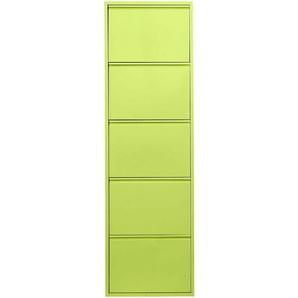 Schuhkipper aus Metall grün, H/B/T ca. 136/50/15cm, 4 Klappen, pflegeleichte Oberfläche, heine home